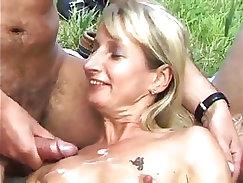 Blonde pawnee gets cum in her mouth after giving bukkake