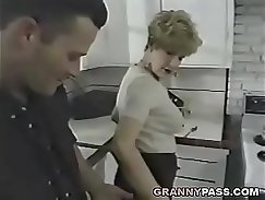 Beautiful young maid gets her man off in the kitchen