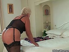Chubby black granny rides on two guys