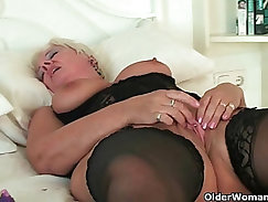 British slut Janet Ashley on a solo tryout