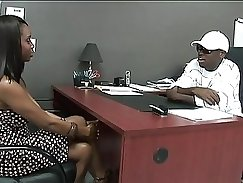 Black girl rides a musket in LP Officers office