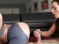 Busty cfnm femdom tit fucked after griping
