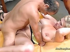 Bubble pierced sex slave gangbanged with ATM
