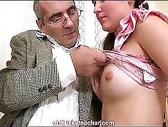 Sexy HORNY TEENies suck their teachers hard dick before sit outine