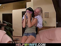 Cuckold Hubby fucks his Wife with BBC