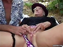 Cougar and granny get punished outdoors