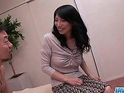 Super Hot Japanese Girl Fucked on Brunette Bed