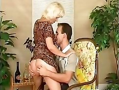 Blonde German mom catches her husband jerking off