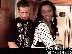 Black haired milf delivers blowjob to horny white guy
