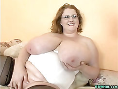 BBW MILF Plays With Massive Natural Tits And Dildos her Pussy