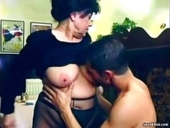 Sexy granny gets team fucked in restaurant