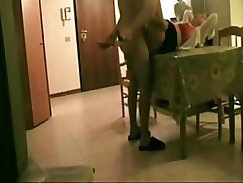 Boy Fucks His Aunt On The Table Then Cums
