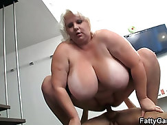Big tits blonde milf sucks and rides after photosession