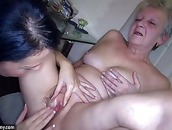 OldNanny Sexy young Girl and skinny old mature have sex with toy