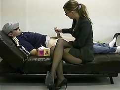 Lady boss masturbates her lazy employee to ignite him to work