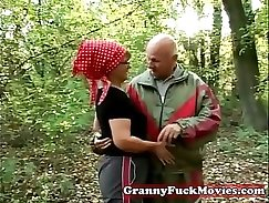 Granny gets caught, playing with herself outdoor