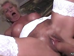 Black granny sucks and fucks a horny tgirl