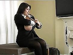Big-boobied slut Lucie Valentine rides fat dick greedily