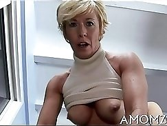 Cowgirl girl mom with huge tits ready to drop poole and lick dick