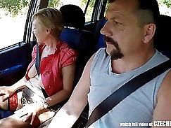 Big tits bouncing in public taxi