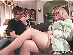 Blonde milf seduces guy and gets fucked in her asshole