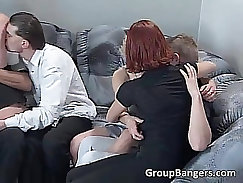 Bald seems to be the snapper for this raunchy group sex action